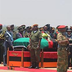 Thousands of Zambians receive president's body at airport