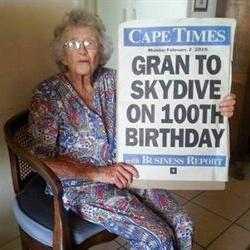 Skydiving granny still paying tax at 100