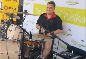 Saturday Express: WR Van Der Merwe join Shandor Potgieter on the drums at Goldfields Mall in Welkom. | News Article