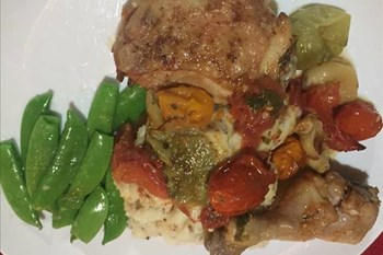Ilse Cooks the Books: Tender and crisp chicken legs with sweet tomatoes | Blog Post